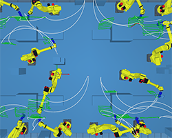 multi-robot grinding in very narrow cells. robot cell layout optimization and robot programmed simulated and programmed by robot offline programming software AUTOMAPPPS